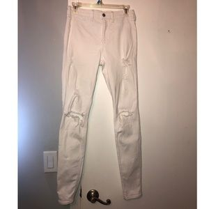 7 long white ripped Hollister jeans
